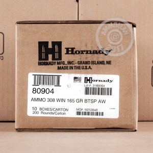 Image of 308 / 7.62x51 ammo by Hornady that's ideal for whitetail hunting.