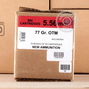A photo of a box of Black Hills Ammunition ammo in 5.56x45mm.