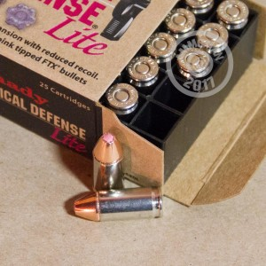 A photograph of 25 rounds of 100 grain 9mm Luger ammo with a JHP bullet for sale.