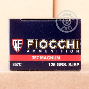 A photograph detailing the 357 Magnum ammo with Semi-Jacketed Soft-Point (SJSP) bullets made by Fiocchi.