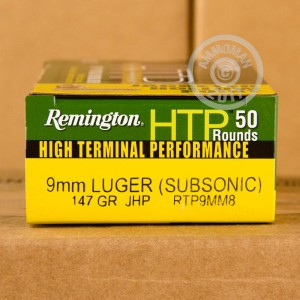 A photograph detailing the 9mm Luger ammo with JHP bullets made by Remington.