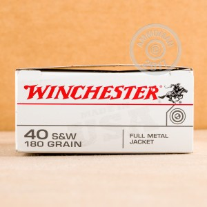 A photograph of 50 rounds of 180 grain .40 Smith & Wesson ammo with a FMJ bullet for sale.