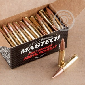 A photograph detailing the 300 AAC Blackout ammo with Flat Base Hollow-Point (FBHP) bullets made by Magtech.
