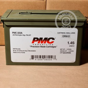 An image of bulk 223 Remington ammo made by PMC at AmmoMan.com.