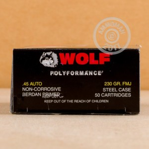 An image of .45 Automatic ammo made by Wolf at AmmoMan.com.