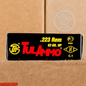 Image of 223 Remington ammo by Tula Cartridge Works that's ideal for hunting varmint sized game, training at the range.