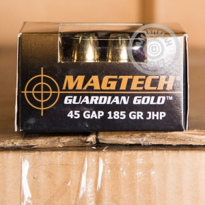 A photograph of 20 rounds of 185 grain .45 GAP ammo with a JHP bullet for sale.