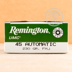 A photograph detailing the .45 Automatic ammo with FMJ bullets made by Remington.