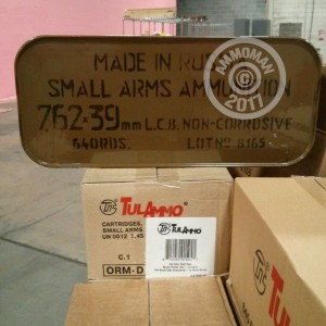 A photo of a box of Tula Cartridge Works ammo in 7.62 x 39 that's often used for training at the range.