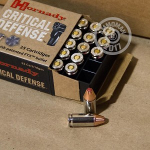An image of 9mm Luger ammo made by Hornady at AmmoMan.com.