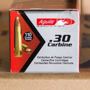 An image of .30 Carbine ammo made by Aguila at AmmoMan.com.