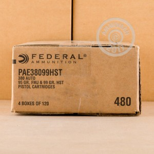 Image of bulk .380 Auto ammo by Federal that's ideal for home protection, training at the range.