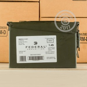 Image of bulk 5.56x45mm ammo by Federal that's ideal for training at the range.