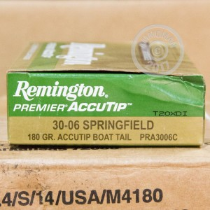 A photograph detailing the 30.06 Springfield ammo with ACCUTIP bullets made by Remington.