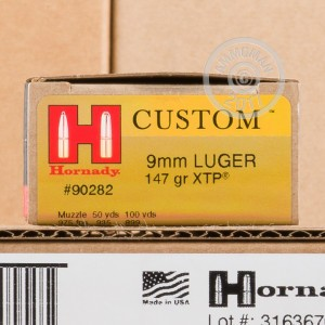 Image of Hornady 9mm Luger pistol ammunition.