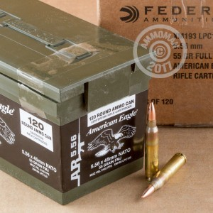 A photograph of 120 rounds of 55 grain 5.56x45mm ammo with a FMJ bullet for sale.