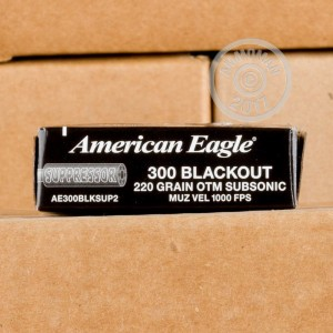 A photograph of 500 rounds of 220 grain 300 AAC Blackout ammo with a Open Tip Match bullet for sale.