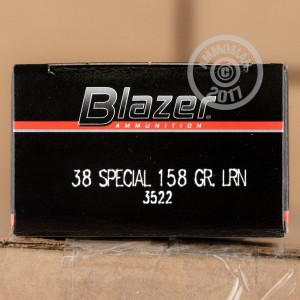 Image of 38 Special ammo by Blazer that's ideal for training at the range.