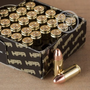 A photograph detailing the 9mm Luger ammo with TMJ bullets made by HPR.