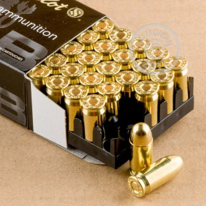 A photograph of 50 rounds of 92 grain .380 Auto ammo with a FMJ bullet for sale.