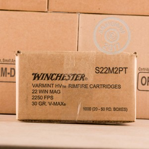 Photograph of .22 WMR ammo with V-MAX ideal for hunting varmint sized game.