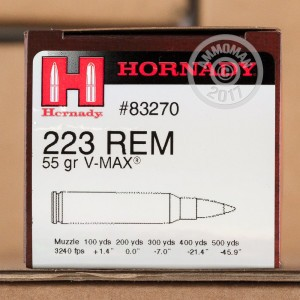 Image of 223 Remington ammo by Hornady that's ideal for hunting varmint sized game.