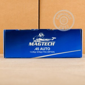 Image of .45 Automatic ammo by Magtech that's ideal for training at the range.