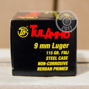 Image of 9mm Luger ammo by Tula Cartridge Works that's ideal for training at the range.