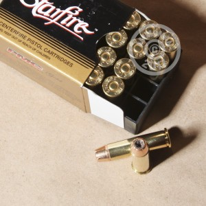 A photograph detailing the 357 Magnum ammo with JHP bullets made by PMC.