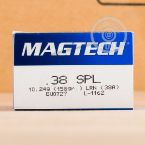 A photograph detailing the 38 Special ammo with Lead Round Nose (LRN) bullets made by Magtech.