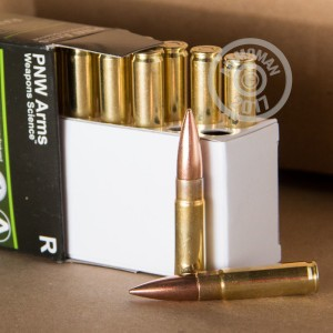 A photograph detailing the 300 AAC Blackout ammo with FMJ-BT bullets made by PNW Arms.