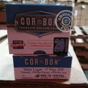 Photo of 9mm Luger JHP ammo by Corbon for sale at AmmoMan.com.