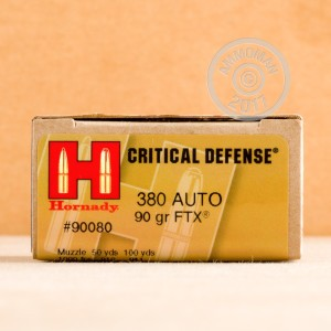 A photograph of 25 rounds of 90 grain .380 Auto ammo with a JHP bullet for sale.