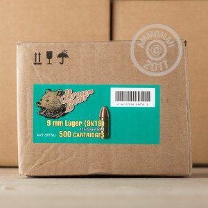 Image of 9mm Luger ammo by Brown Bear that's ideal for training at the range.