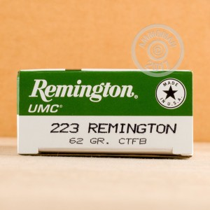 Photo of 223 Remington closed tip flat base ammo by Remington for sale.
