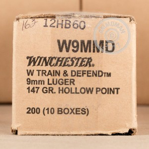 A photograph of 200 rounds of 147 grain 9mm Luger ammo with a JHP bullet for sale.