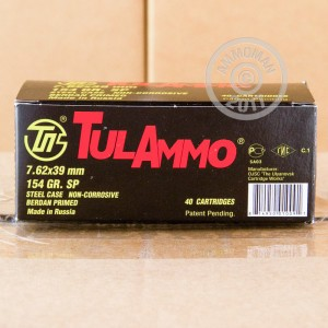 Image of 7.62 x 39 ammo by Tula Cartridge Works that's ideal for hunting wild pigs, training at the range, whitetail hunting.