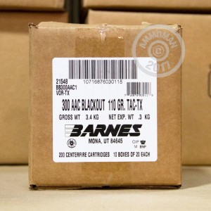 An image of 300 AAC Blackout ammo made by Barnes at AmmoMan.com.
