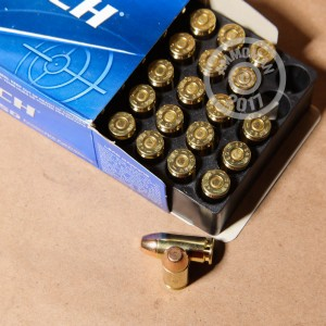 A photograph detailing the .40 Smith & Wesson ammo with FMJ bullets made by Magtech.