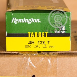 Photo of .45 COLT Lead Round Nose (LRN) ammo by Remington for sale at AmmoMan.com.