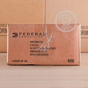 A photo of a box of Federal ammo in 5.56x45mm that's often used for training at the range.