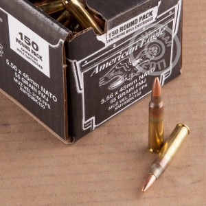 A photograph of 150 rounds of 55 grain 5.56x45mm ammo with a FMJ bullet for sale.