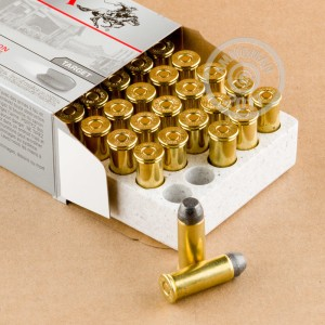 A photograph detailing the 44 Special ammo with Lead Flat Nose bullets made by Winchester.