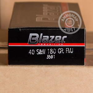 An image of .40 Smith & Wesson ammo made by Blazer at AmmoMan.com.