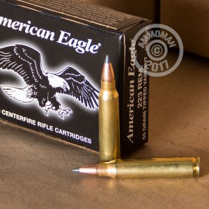 A photograph of 500 rounds of 50 grain 223 Remington ammo with a Polymer Tipped bullet for sale.