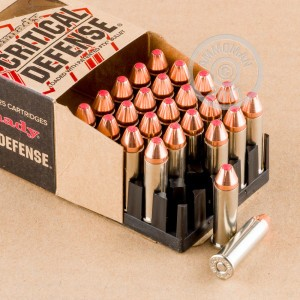 A photograph detailing the 38 Special ammo with JHP bullets made by Hornady.