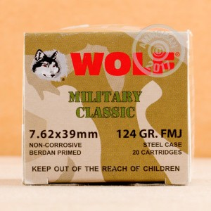 A photograph detailing the 7.62 x 39 ammo with FMJ bullets made by Wolf.