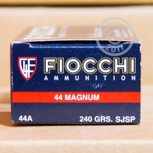 Photo of 44 Remington Magnum Semi-Jacketed Soft-Point (SJSP) ammo by Fiocchi for sale at AmmoMan.com.