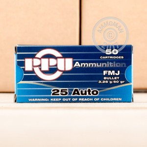 Photo of .25 ACP FMJ ammo by Prvi Partizan for sale at AmmoMan.com.