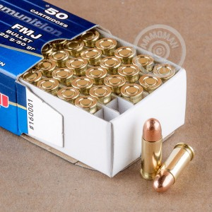 A photograph of 50 rounds of 50 grain .25 ACP ammo with a FMJ bullet for sale.